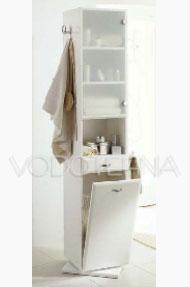 NICOLINI - Kupaonski ormarić GIOIOSA 1 vrata (staklo) 1 ladica, s košarom za veš - bijeli