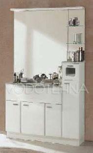 NICOLINI - LUXOR 112cm kup. orm./monoblok s umivaonikom, ogledalom i ormarićem - čisto bijeli