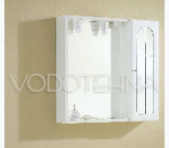 NICOLINI - Toaletni ormarić LUNA s ogledalom, 1 vrata (staklo) - bijeli